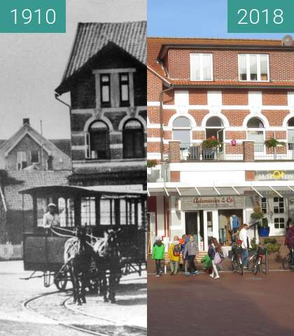 Before-and-after picture of Inselbahn Langeoog between 1910 and 2018-Sep-26