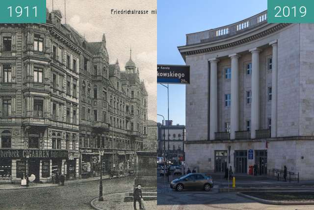 Before-and-after picture of Aleje Marcinkowskiego, Urząd Pocztowy between 1911 and 2019-Feb-16