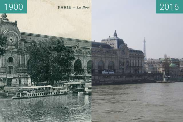 Before-and-after picture of Musée d'Orsay between 1900 and 2016-Feb-27