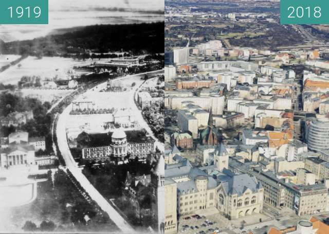 Before-and-after picture of Poznań between 1919 and 2018