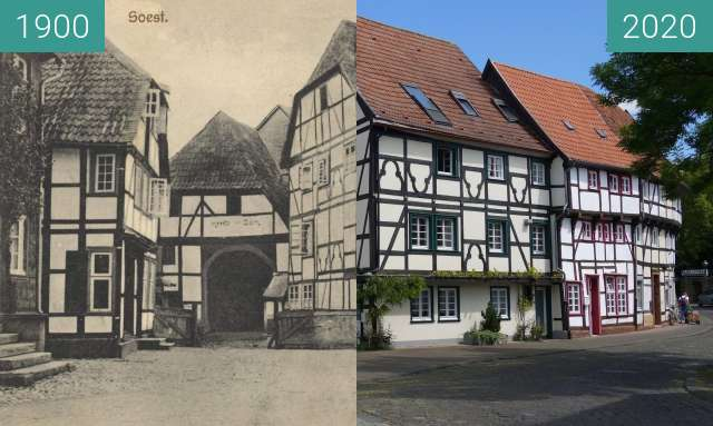Before-and-after picture of Osthofenstraße between 1900 and 05/2020