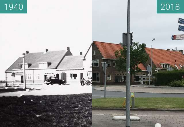 Before-and-after picture of The Brink in the village of Slootdorp between 1940 and 2018-Jun-19