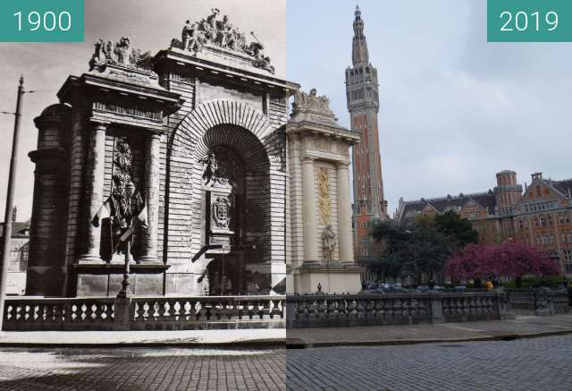 Before-and-after picture of Porte de Paris between 1900 and 2019-Apr-06