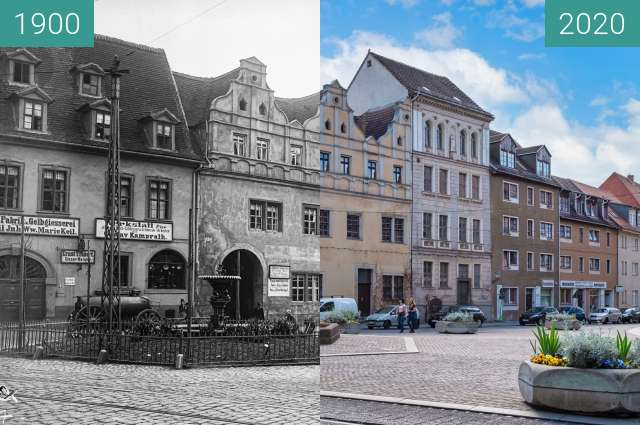 Before-and-after picture of Eselsbrunnen Halle between 1900 and 2020-Apr-26