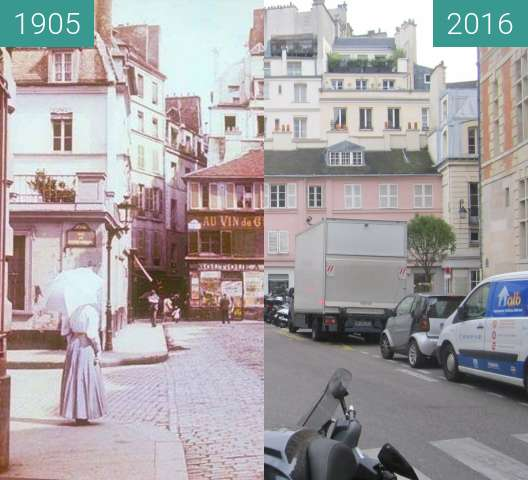Before-and-after picture of Rue de l'abbaye between 1905 and 2016-Jan-19