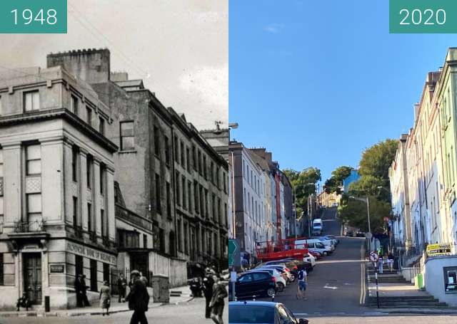 Before-and-after picture of Saint Patricks Hill between 1948 and 2020-Aug-10