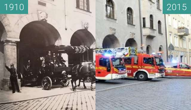 Before-and-after picture of Hauptfeuerwache an der Blumenstraße between 1910 and 2015