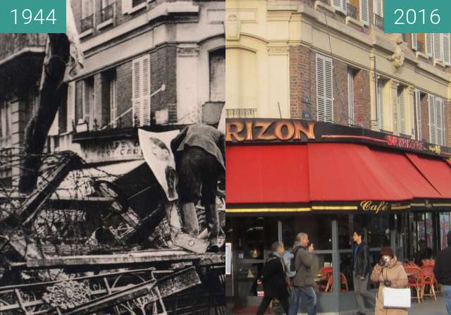 Before-and-after picture of Rue St. Placide between 08/1944 and 2016-Jan-12