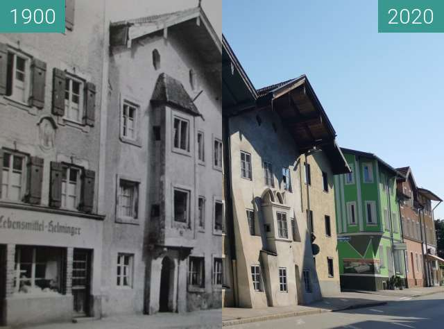 Before-and-after picture of Scheibenstraße Traunstein between 1900 and 08/2020
