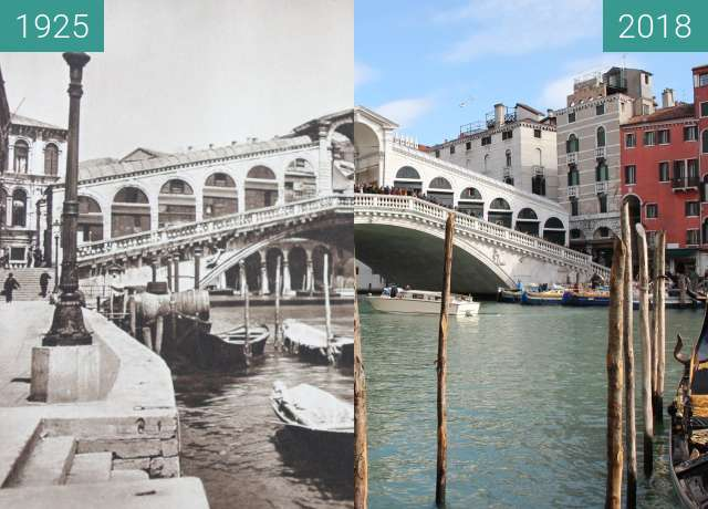 Before-and-after picture of Rialto bridge, Venice between 1925 and 2018-Feb-13