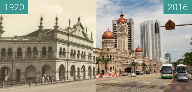 Before-and-after picture of Sultan Abdul Samad Building between 1920 and 2016-Jul-25