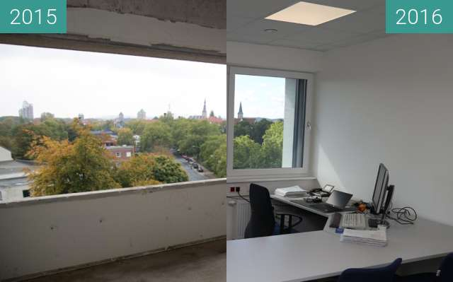 Before-and-after picture of Büro 518 im neuen Informatikgebäude between 2015-Oct-21 and 2016-Jul-07