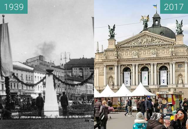 Before-and-after picture of Easter Market at the Opera House between 1939 and 2017-Apr-20
