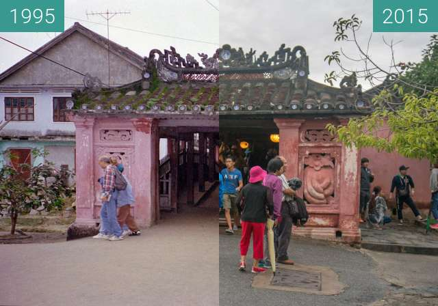 Before-and-after picture of Japanese Bridge (Chùa cầu) between 1995-Dec-30 and 2015-Dec-07