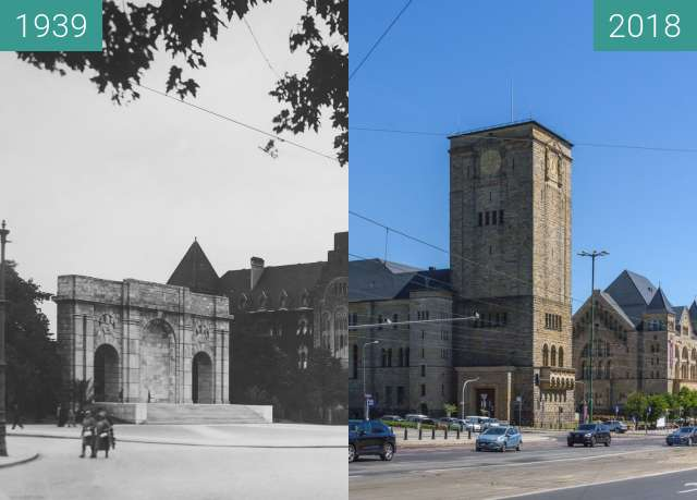 Before-and-after picture of Ulica Św. Marcin between 1939 and 2018