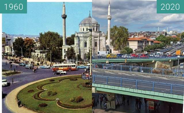 Before-and-after picture of Laleli Mosque between 1960 and 2020
