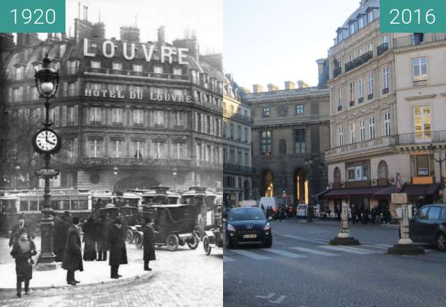 Before-and-after picture of Hôtel du Louvre between 1920 and 2016-Feb-16