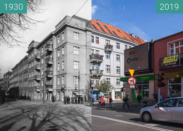 Before-and-after picture of Ulica Półwiejska between 1930 and 2019