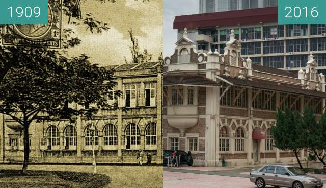 Before-and-after picture of Former Printing Offices - now City Gallery between 1909 and 2016-Jul-22