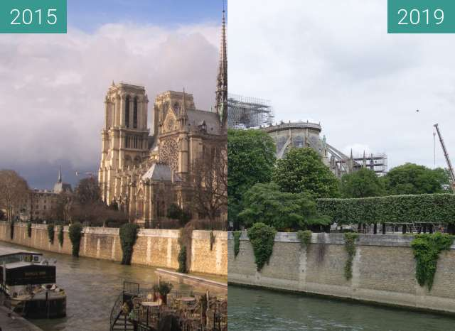Before-and-after picture of Notre-Dame after the fire between 2015-Mar-03 and 2019-May-05