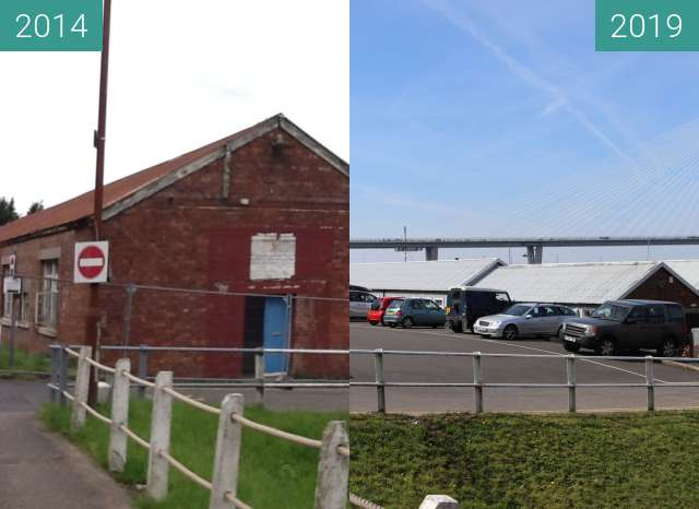 Before-and-after picture of Port Edgar 2 between 2014-Jun-07 and 2019-May-14