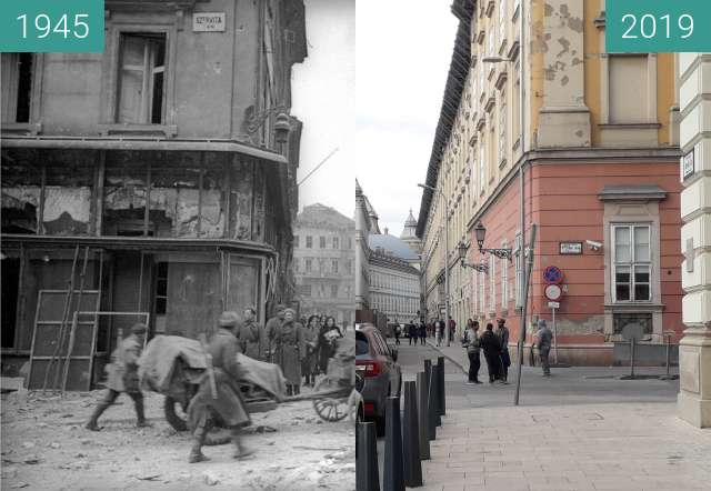 Before-and-after picture of Budapest, Szervita tér 1945 - 2019 between 01/1945 and 2019-Apr-30