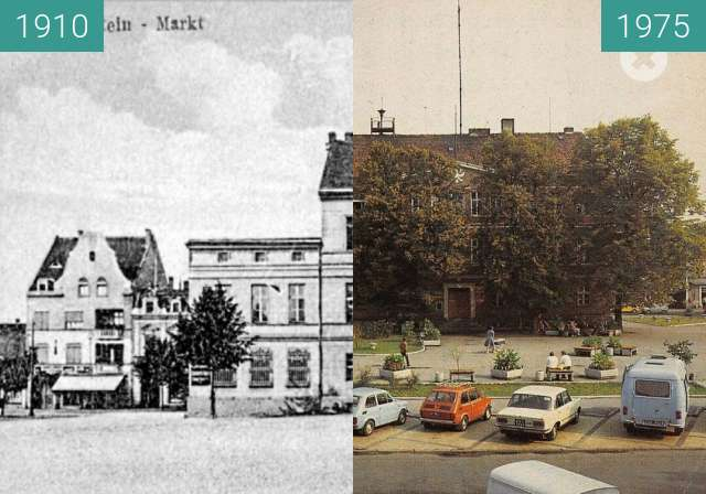Before-and-after picture of Town between 1910 and 1975