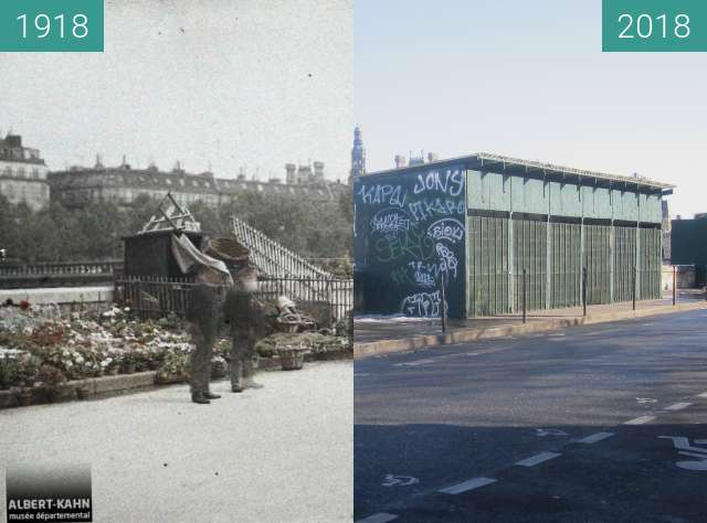 Before-and-after picture of Marché aux Fleurs between 1918-Aug-10 and 2018-Feb-10