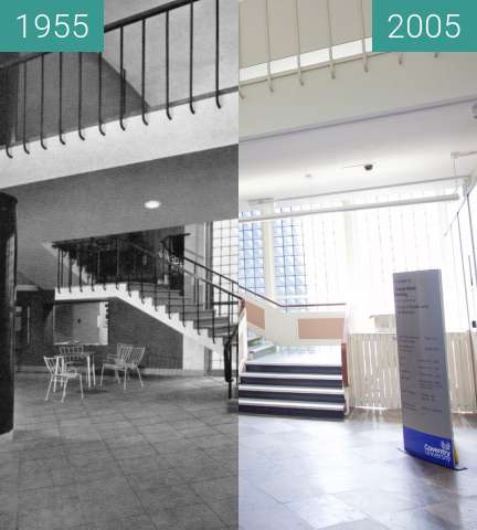 Before-and-after picture of Charles Ward building, Coventry University between 1955 and 2005-May-25