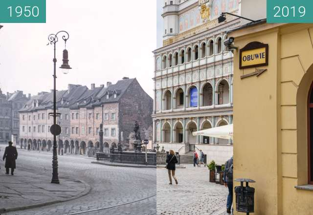 Before-and-after picture of Stary Rynek, Ratusz, 1950-2019 between 1950 and 2019-May-23