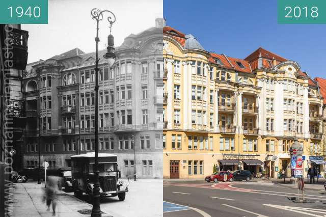 Before-and-after picture of Ulica 3 Maja between 1940 and 2018