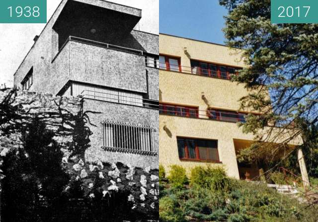 Before-and-after picture of Barrandovská 22 between 1938 and 2017