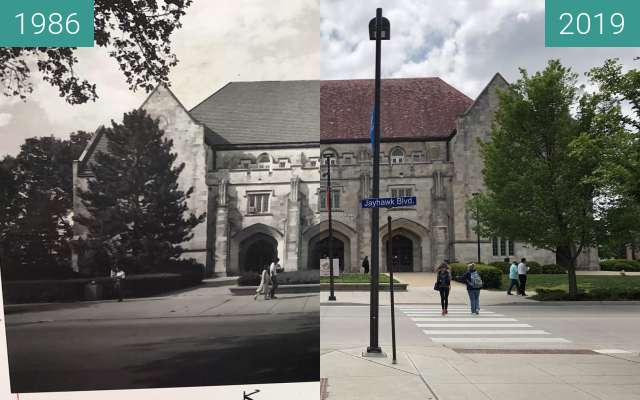 Before-and-after picture of Hoch Auditorium between 1986 and 2019-May-02