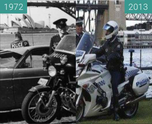 Before-and-after picture of NSW Police Officers and Their Vehicles between 1972 and 2013