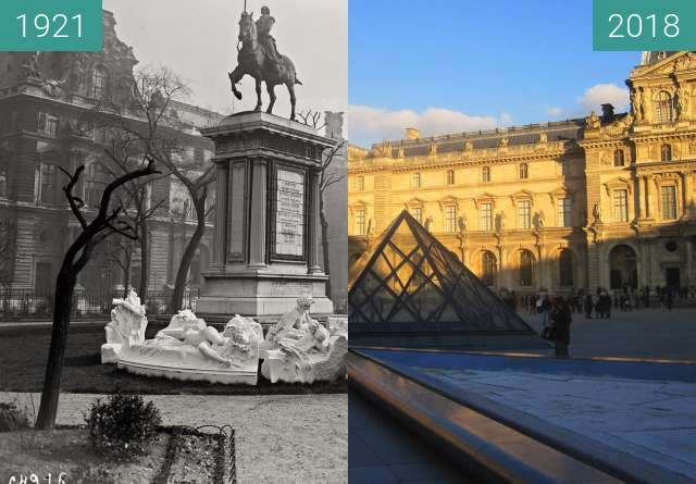 Before-and-after picture of Palais du Louvre between 04/1921 and 2018-Feb-18