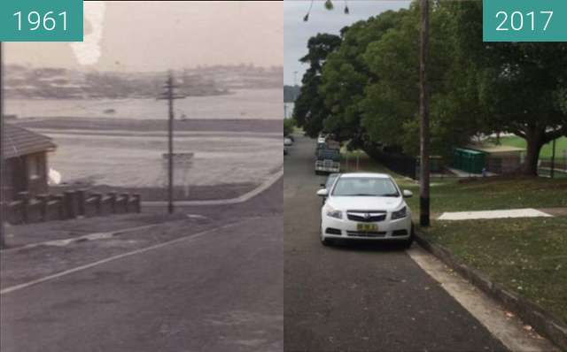 Before-and-after picture of Cometrowe Street, Drummoyne between 1961 and 2017