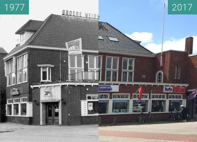 "Before-and-after picture of ""Groene Weide"", Harlingersingel te Leeuwarden between 1977 and 2017-Jul-13"