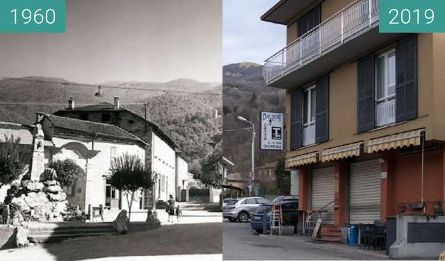 Before-and-after picture of Dumenza: Piazza Diaz between 1960 and 04/2019