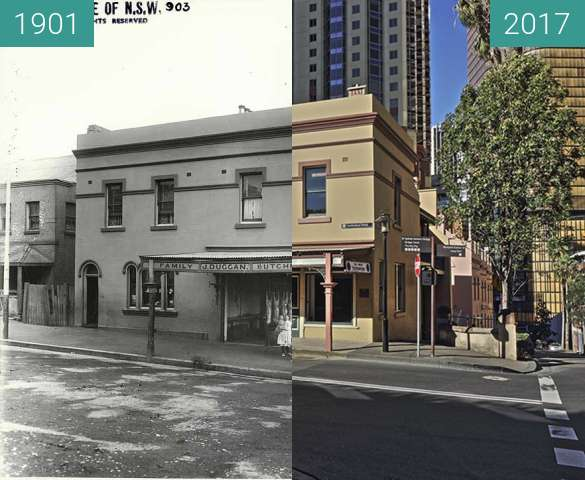 Before-and-after picture of 178 Cumberland Street The Rocks Sydney between 1901 and 2017