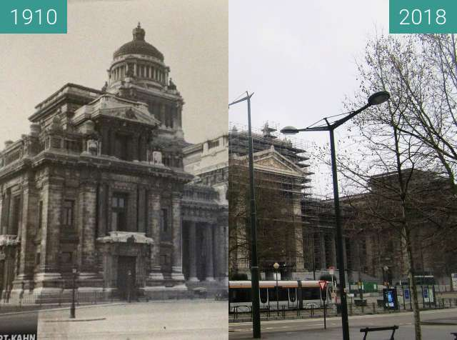 Before-and-after picture of Supreme Court (Brussels) between 1910 and 2018-Apr-01