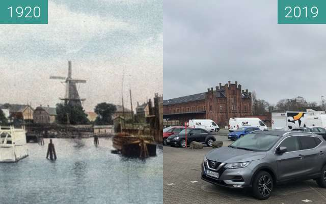 Before-and-after picture of Zollhaus Leer/Ostfriesland between 1920 and 04/2019