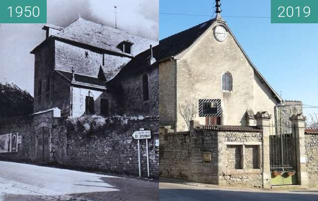 Before-and-after picture of Serzy et Prin - Eglise between 1950 and 2019