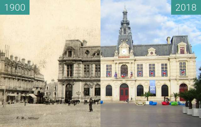 Before-and-after picture of Hôtel de Ville (Poitiers) between 1900 and 2018-Jul-18