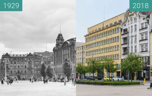 Before-and-after picture of Plac Wolności between 1929 and 2018