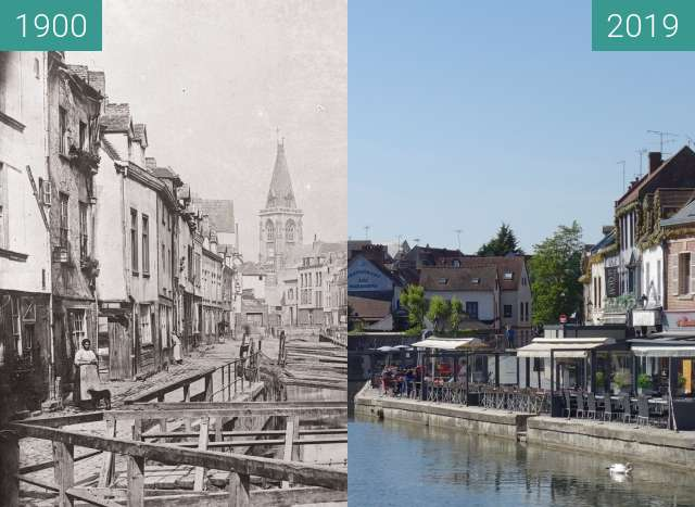 Before-and-after picture of Saint-Leu between 1900 and 2019-May-13