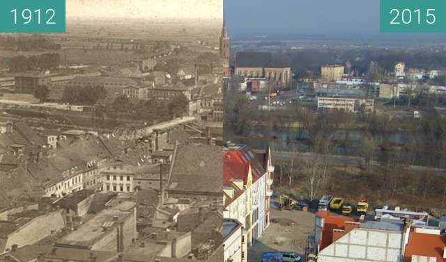 Before-and-after picture of View from town hall's tower between 1912 and 2015