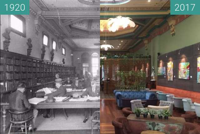 Before-and-after picture of Sydney Mechanics School of Arts/Arthouse Hotel between 1920 and 2017