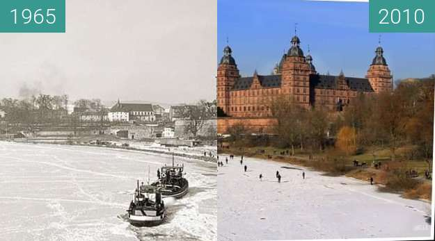Before-and-after picture of Aschaffenburg - Schloss between 1965 and 2010