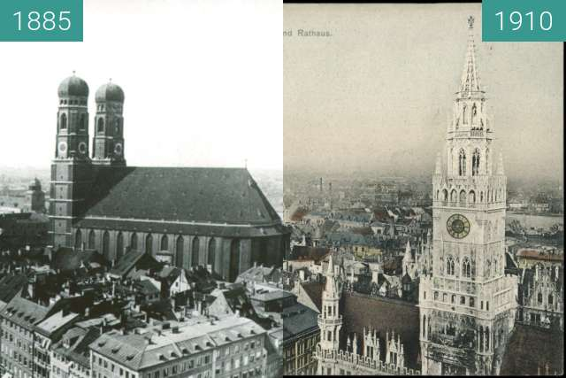 Before-and-after picture of München: Blick vom Alten Peter (1) between 1885 and 1910