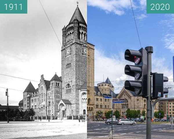 Before-and-after picture of Ulica św. Marcin, Zamek Cesarski between 1911 and 2020-Jun-23